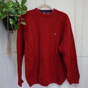 Chaps Chevron knit red crew neck sweater